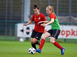 NEWPORT, WALES - Tuesday, November 6, 2018: Wales' Angharad James and Lucy Attwood during a training session at Dragon Park ahead of two games against Portugal. (Pic by Paul Greenwood/Propaganda)