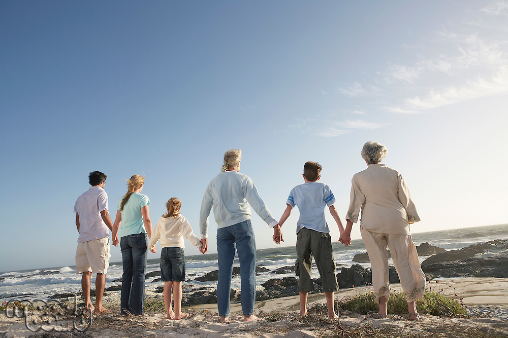 Three generation family holding hands on seashore back view