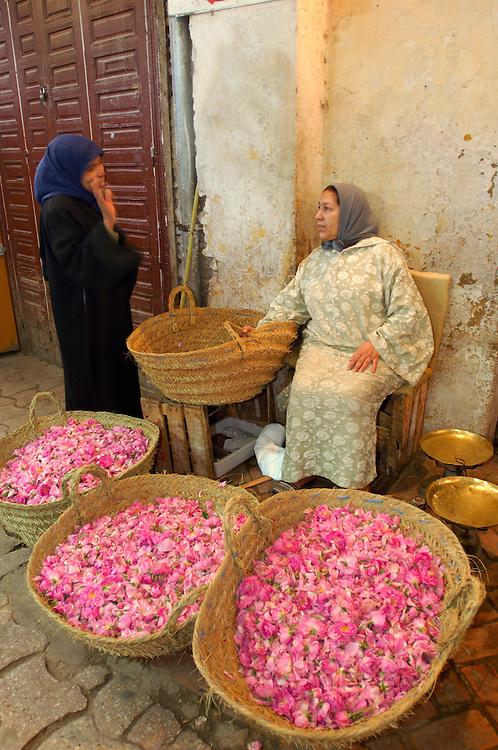 Dryed Rose Flower Seller, Souq, Market, Old Town, Meknes, Morocco