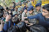 25th Dec. 2012. Angry students and police face-off during demonstrations in Jantar Mantar, New Delhi. Large crowds of people gathered in the Indian capital in response to the gang-rape of a young medical student.