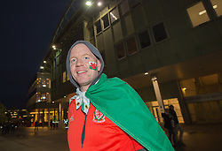 VIENNA, AUSTRIA - Thursday, October 6, 2016:A Wales supporter reacts outside the stadium before Wales take on Austria during a 2018 FIFA World Cup Qualifying Group D match at the Ernst-Happel-Stadion. (Pic by Peter Powell/Propaganda)