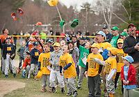 """Time to """"play ball"""" at the conclusion of Opening Day festivities for Laconia Little League gathered at Colby Field on Saturday morning.  Time to """"Play Ball"""".  (Karen Bobotas/for the Laconia Daily Sun)"""