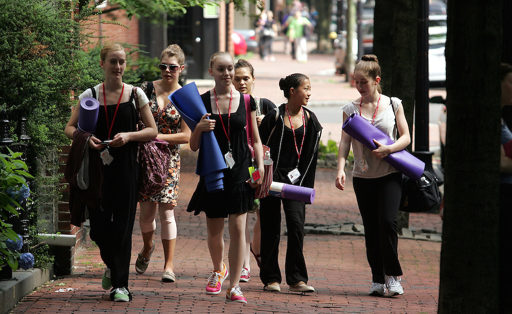 06/29/2009 Boston, MA-  Lani Dickinson, 15, second from right, and her fellow dancers walk down Clarendon St. after ballet class at Boston Ballet's Summer Dance Program.