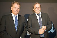 Michel Platini attend at opening of Turku-European Capital of Culture 2011. after his speech he answered to questions by journalist and audience. January 14th, 2011, Turku, Finland. .(L-R  Sauli Niinist, Michel Platini)