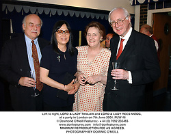 Left to right, LORD & LADY TANLAW and LORD & LADY REES-MOGG, at a party in London on 7th June 2004.PUW 46