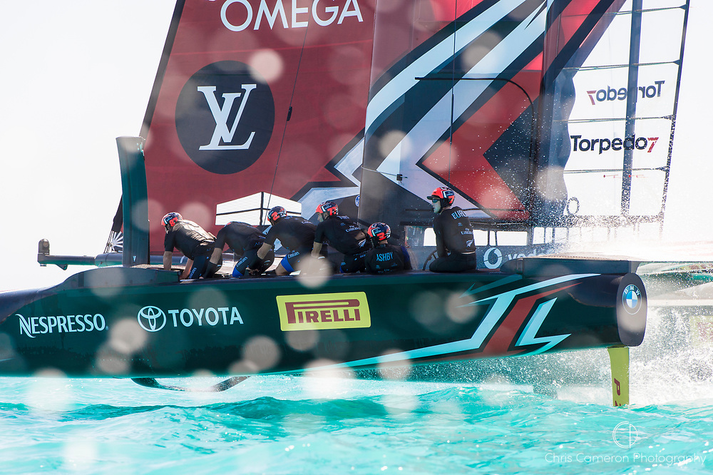 The Great Sound, Bermuda, 18th June. Emirates Team New Zealand wins against Oracle Team USA in race four on day two of the America's Cup.