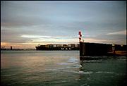 Containership MSC vaart over het Beerkanaal tussen Europoort en de Maasvlakte. Kodak Ektar collectie