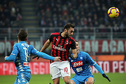 January 26, 2019 - Milan, Milan, Italy - Hakan Calhanoglu #10 of AC Milan in action during the serie A match between AC Milan and SSC Napoli at Stadio Giuseppe Meazza on January 26, 2018 in Milan, Italy. (Credit Image: © Giuseppe Cottini/NurPhoto via ZUMA Press)