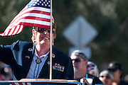 The Amvets commander of Arizona marches in the Veterans Day Parade, which honors American military veterans, in Tucson, Arizona, USA.