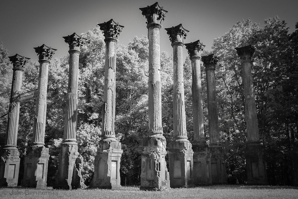 The Windsor Ruins in Mississippi. The ruins are those of the largest antebellum Greek Revival mansion built in the state. On 17 February 1890 the home burnt to the ground leaving 23 columns standing.