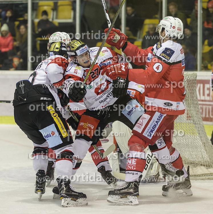 02.12.2016, Stadthalle, Klagenfurt, AUT, EBEL, EC KAC vs HC Orli Znojmo, 25. Runde Grunddurchgang, im Bild David Bartos (HC Orli Znojmo, #10), Dalibor Reznicek (HC Orli Znojmo, #27), Marek Schwaz (HC Orli Znojmo, #3), Mark Popovic (EC KAC, #4) // during the Erste Bank Eishockey League 25th match at preliminary round betweeen EC KAC vs HC Orli Znojmo at the City Hall in Klagenfurt, Austria on 2016/12/02. EXPA Pictures © 2016, PhotoCredit: EXPA/ Gert Steinthaler