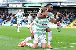 Yeovil Town's Sam Foley celebrates his sides goal with Yeovil Town's Gozie Ugwu - Photo mandatory by-line: Harry Trump/JMP - Mobile: 07966 386802 - 03/04/15 - SPORT - FOOTBALL - Sky Bet League One - Yeovil Town v Chesterfield - Huish Park, Yeovil, England.