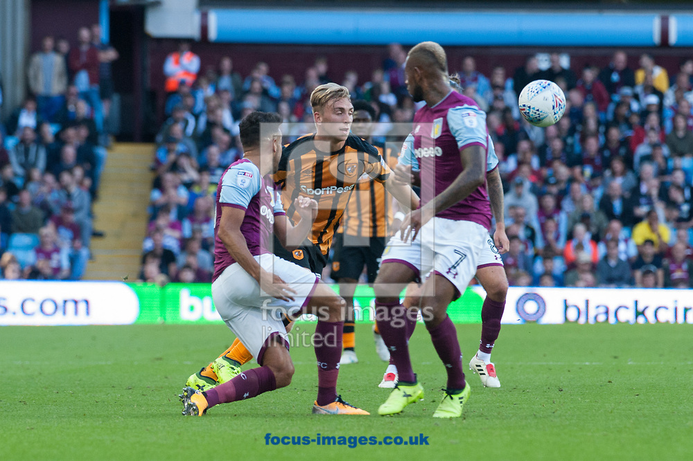 Jarrod Bowen of Hull City tries to find a way past the Aston Villa defence during the Sky Bet Championship match at Villa Park, Birmingham<br /> Picture by Matt Wilkinson/Focus Images Ltd 07814 960751<br /> 05/08/2017