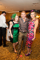 Donna Hallinan from Dock st. Galway and Joe Rohan from Dublin and Bernice Garrett Sligo  at the Best Dressed Competition at Hotel Meyrick on Ladies Day of the Galway Races,  for a best dressed competition,sponsored by Brown Thomas Galway, hosted by RTE's  Republic of Telly Star Jennifer Maguire. Photo:Andrew Downes. Photo issued with Compliments, no reproduction fee on first publication..