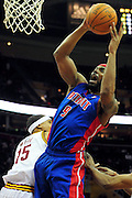 Feb. 9, 2011; Cleveland, OH, USA; Detroit Pistons power forward Chris Wilcox (9) shoots over Cleveland Cavaliers small forward Jamario Moon (15) during the fourth quarter at Quicken Loans Arena. The Pistons beat the Cavaliers 103-94 for Cleveland's 26th loss in a row. Mandatory Credit: Jason Miller-US PRESSWIRE