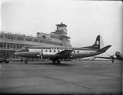 """21/01/1956<br /> 01/21/1956<br /> 21st January 1956<br /> Aer Lingus special - aircraft with new markings, the Vickers Viscount 700 """"Breandán"""" in front of the terminal building at Dublin Airport. Note tractor unit towing the aircraft. the DC3 """"Colmcille"""" is on right."""