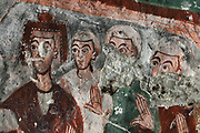 Fresco of apostles, detail, in Pancarlik Kilise or Pancarlik Church, early 11th century, in the Pancarlik Valley, Nevsehir province, Cappadocia, Central Anatolia, Turkey. The churches are carved from the soft volcanic tuff created by ash from volcanic eruptions millions of years ago. Early christians came here to flee persecution by the Romans and others settled here under the influence of early saints. This area forms part of the Goreme National Park and the Rock Sites of Cappadocia UNESCO World Heritage Site. Picture by Manuel Cohen