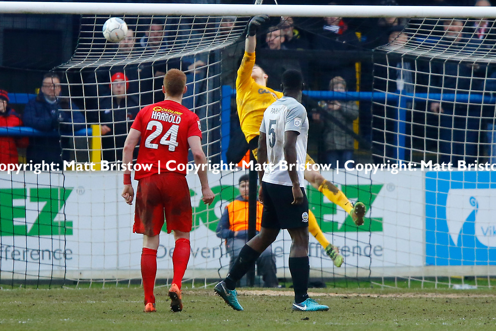 Leyton Orient's forward Macauley Bonne chips Dover's keeper Mitch Walker to oput the O's 2 goals up during the The FA Trophy match between Dover Athletic and Leyton Orient at Crabble Stadium, Kent on 3 February 2018. Photo by Matt Bristow.