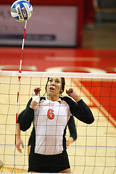 01 September 2012:  Brooklyn Hlafka watches in anticipation as an incoming ball strikes the out of bounds pole during an NCAA womens volleyball match between the Oregon State Beavers and the Illinois State Redbirds at Redbird Arena in Normal IL