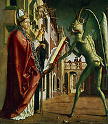 The Devil presenting St Augustine (of Hippo) with the book of vices. Michael Pacher (c1435-1498). Oil on wood. Alte Pinakothek, Munich.