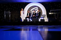 Adam Norris, Connor Hall and Dino Zamparelli are interviewed on stage about Bristol Sport Racing by Lisa Knights at Bristol Sport's Annual Gala Dinner at Ashton Gate Stadium - Mandatory byline: Rogan Thomson/JMP - 08/12/2015 - SPORT - Ashton Gate Stadium - Bristol, England.
