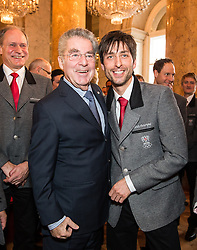 29.01.2014, Hofburg, Wien, AUT, Sochi 2014, Vereidigung OeOC, im Bild Bundespräsident Heinz Fischer und Mario Stecher // Austrians President Heinz Fischer with Mario Stecher during the swearing-in of the Austrian National Olympic Committee for Sochi 2014 at the  Hofburg in Vienna, Austria on 2014/01/29. EXPA Pictures © 2014, PhotoCredit: EXPA/ JFK