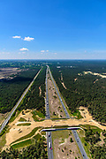 Nederland, Gelderland, Veluwe, 29-05-2019; Rijksweg A1 met ecoduct Kootwijkerzand, omgeving van Stroe.<br /> Highway A1 with ecoduct Kootwijkerzand.<br /> <br /> luchtfoto (toeslag op standard tarieven);<br /> aerial photo (additional fee required);<br /> copyright foto/photo Siebe Swart