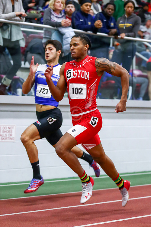 mens 200 meters, BU, Jamin Harris<br /> Boston University Scarlet and White<br /> Indoor Track & Field, Bruce LeHane