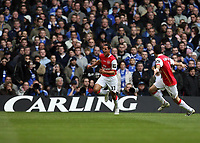 Photo: Rich Eaton.<br /> <br /> Chelsea v Arsenal. Carling Cup Final. 25/02/2007. Theo Walcott of Arsenal, left, scores the first goal of the game and celebrates