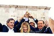 Roma 24 Maggio 2013.Silvio Berlusconi  chiude la campagna elettorale  per  Gianni Alemanno  sindaco uscente di Roma e  ricandidato per un nuovo mandato per il Popolo delle Libertà, per le elezioni comunali  che si terranno il 26-27 Maggio.Silvio Berlusconi , Gianni Alemanno, Giorgia Meloni