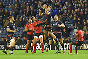 James Ritchie takes the ball in mid air during the Guinness Pro 14 2018_19 match between Edinburgh Rugby and Southern Kings at BT Murrayfield Stadium, Edinburgh, Scotland on 5 January 2019.