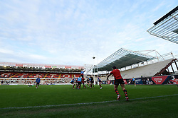 Jersey practice a line out in front of the South Stand development - Photo mandatory by-line: Dougie Allward/JMP - Mobile: 07966 386802 - 17/04/2015 - SPORT - Rugby - Bristol - Ashton Gate - Bristol Rugby v Jersey - Greene King IPA Championship