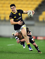 Wellington's Jackson Garden-Bachop tackled by Hawkes Bay's Brad Weber in the Mitre 10 Cup rugby match at Westpac Stadium, Wellington, New Zealand, Wednesday, September 06, 2017. Credit:SNPA / Ross Setford  **NO ARCHIVING**