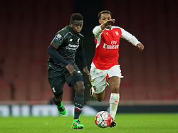 LONDON, ENGLAND - Friday, March 4, 2016: Liverpool's Toni Gomes (L) in action against Arsenal's Tyrell Robinson (R) during the FA Youth Cup 6th Round match at the Emirates Stadium. (Pic by Paul Marriott/Propaganda)