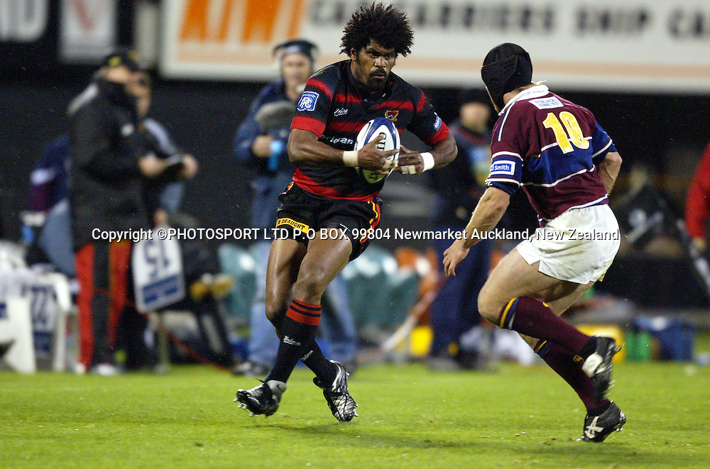 Canterburys Marika Vunibaka in action. NPC Rugby Canterbury Vs Southland, Jade Stadium, Christchurch 18.09.04. Canterbury won 52-13.<br />
