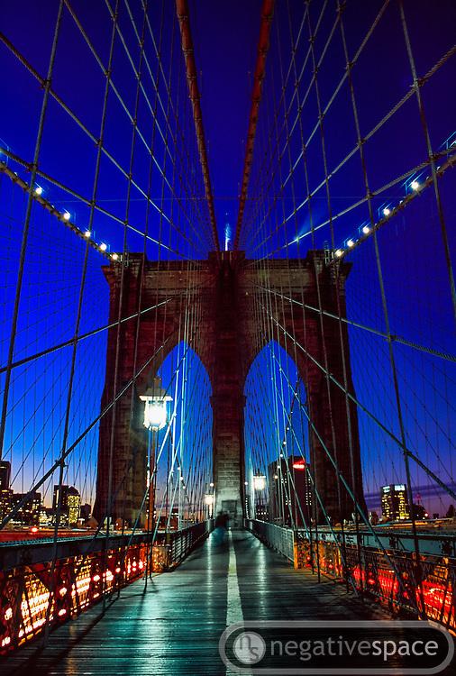 Pedestrian and road traffic along the Brooklyn Bridge, New York City