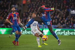 Crystal Palace's Mamadou Sakho leaps for the ball