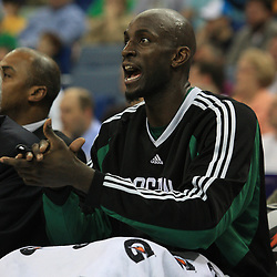 11 February 2009:  Boston Celtics forward Kevin Garnett cheers from the bench during a NBA game between the Boston Celtics and the New Orleans Hornets at the New Orleans Arena in New Orleans, LA.