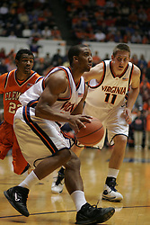 J. R. Reynolds (2) squares for a shot against Clemson.  Reynolds had 10 points to help the Wahoos win 64-58.