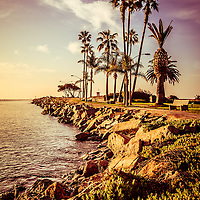 Newport Beach Jetty vintage filter picture. Photo includes West Jetty View Park at Peninsula Point. The Jetty is located at the end of Balboa Peninsula where Newport Bay meets the Pacific Ocean. Newport Beach is a beach city in Orange County California.