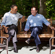 19.MAY.2012. MARYLAND<br /> <br /> PRESIDENT BARACK OBAMA TALKS WITH PRIME MINISTER DMITRY MEDVEDEV OF RUSSIA ON THE LAUREL CABIN PATIO DURING THE G8 SUMMIT AT CAMP DAVID, MARYLAND.<br /> <br /> BYLINE: EDBIMAGEARCHIVE.CO.UK<br /> <br /> *THIS IMAGE IS STRICTLY FOR UK NEWSPAPERS AND MAGAZINES ONLY*<br /> *FOR WORLD WIDE SALES AND WEB USE PLEASE CONTACT EDBIMAGEARCHIVE - 0208 954 5968*