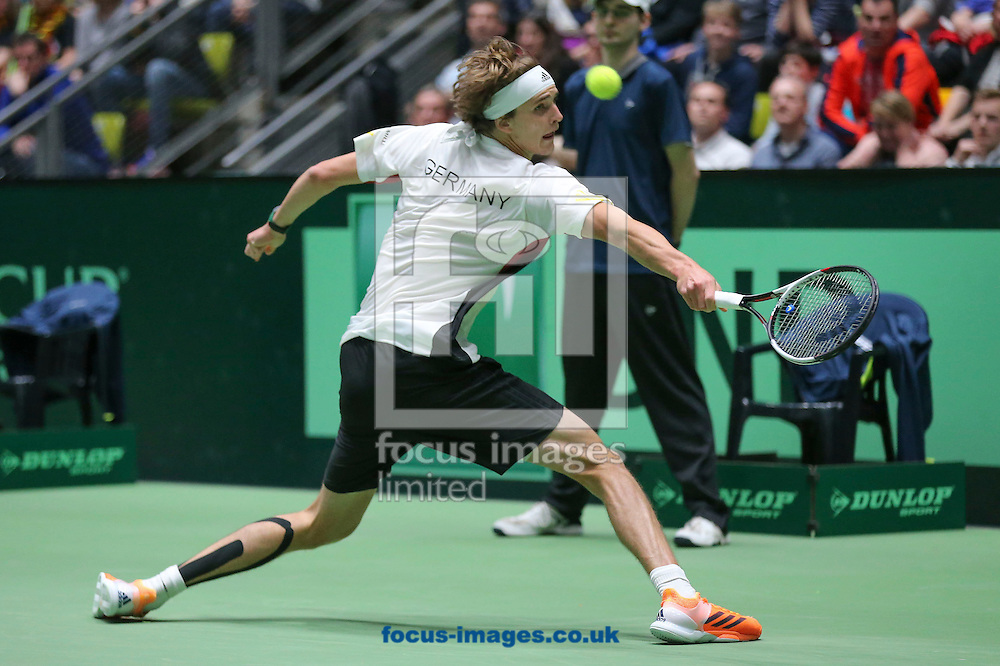 Alexander Zverev of Germany during the world group first round 2017 Davis Cup match between Germany and Belgium in the Fraport Arena, Frankfurt, Germany.<br /> Picture by EXPA Pictures/Focus Images Ltd 07814482222<br /> 05/02/2017<br /> *** UK &amp; IRELAND ONLY ***<br /> <br /> EXPA-EIB-170205-0225.jpg