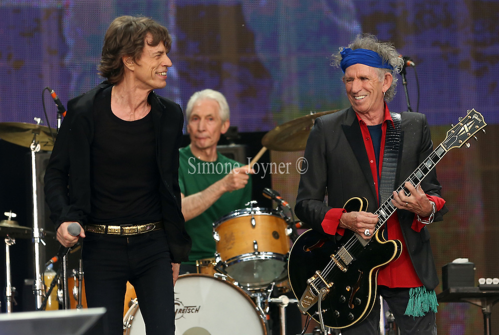 LONDON, ENGLAND - JULY 06:  Mick Jagger and Keith Richards of The Rolling Stones perform live on stage during day two of British Summer Time Hyde Park presented by Barclaycard at Hyde Park on July 6, 2013 in London, England.  (Photo by Simone Joyner)