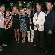 March 6, 2015, Indian Wells, California:<br /> Coco Vandeweghe, Tracy Austin, and John McEnroe pose for a photograph with guests during the McEnroe Challenge for Charity VIP Draw Ceremony in Stadium 2 at the Indian Wells Tennis Garden in Indian Wells, California Friday, March 6, 2015.<br /> (Photo by Billie Weiss/BNP Paribas Open)
