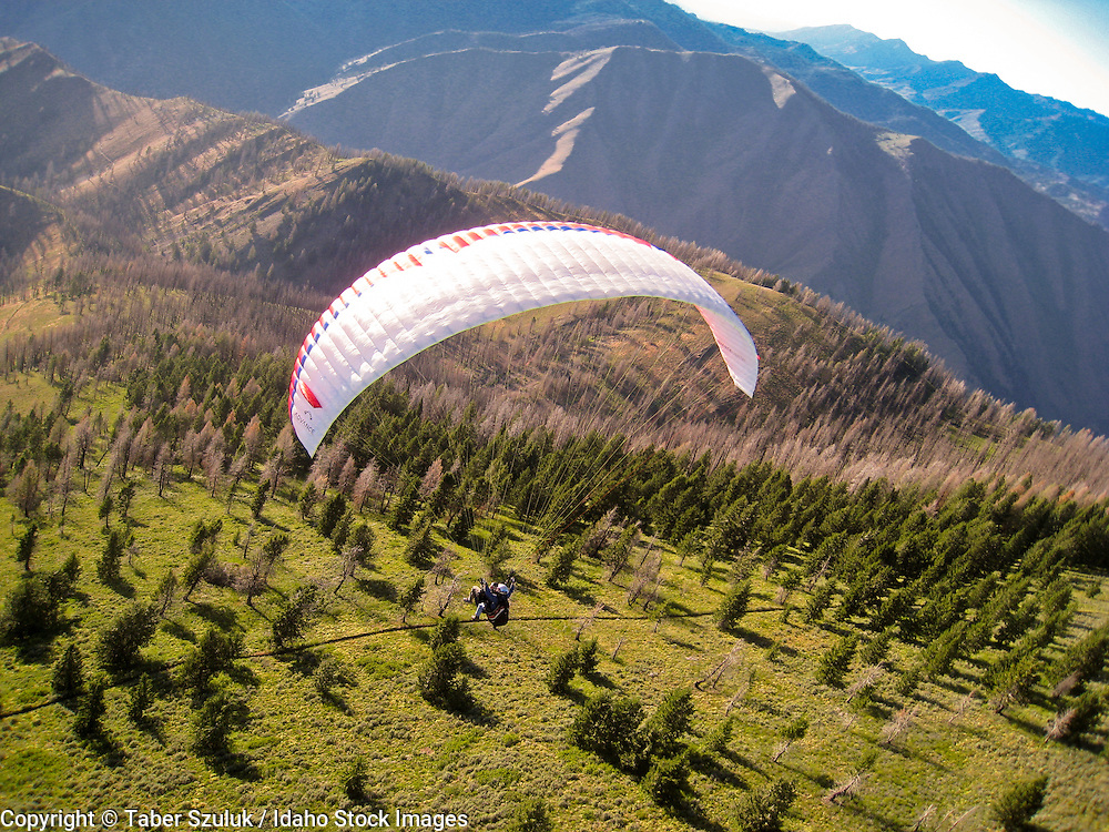 Tandem Paragliding off the top of Baldy Mountain in Sun Valley, Idaho.
