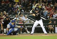 Jul 10, 2013; Phoenix, AZ, USA;  Arizona Diamondbacks infielder Paul Goldschmidt (44) at bat against the Los Angeles Dodgers at Chase Field.  The Dodgers defeated the Diamondbacks 7-5 in extra innings.  Mandatory Credit: Jennifer Stewart-USA TODAY Sports