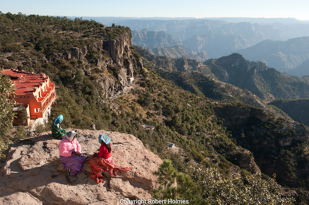 Hotel Mirador above a Tarahumara cave village, Copper Canyon, Mexico