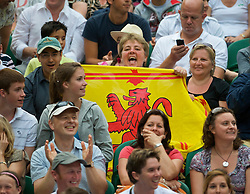 LONDON, ENGLAND - Saturday, June 27, 2009: A Scottish Andy Murray fan cheers him on during his 6-2, 6-3, 6-4 Gentlemen's Singles 3rd Round victory on day six of the Wimbledon Lawn Tennis Championships at the All England Lawn Tennis and Croquet Club. (Pic by David Rawcliffe/Propaganda)
