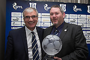 Dundee chairman Bill Colvin receives Sandy MacFarlane's Heritage award from club historian Kenny Ross- DundeeFC Hall of Fame at the Apex Hotel<br /> <br />  - &copy; David Young - www.davidyoungphoto.co.uk - email: davidyoungphoto@gmail.com