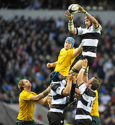 Twickenham, GREAT BRITAIN, Victor MATFIELD collects the line out ball, during the 2011 Killik Cup Match Barbarians [Baa Baa's] vs Australia, Played at the RFU Stadium Twickenham, Surrey on Saturday 26/11/2011 [Photo, Peter Spurrier/Intersport-images]